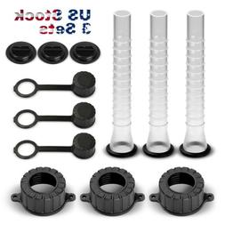 3 Sets Gas Can Spout Parts Kit Replacement Rubbermade Gasket