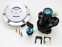 FXCNC Motorcycle Fuel Gas Cap 4 Wire Ignition Switch Lock Wi