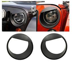 Generic Black Bezels Front Light Headlight Angry Bird Style