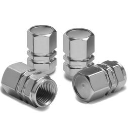 Hexagon Style Polished Aluminum Silver Chrome Tire Valve Ste