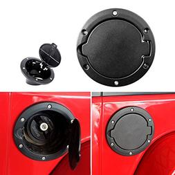 ICARS Black Powder Coated Steel Gas Fuel Tank Gas Cap Cover