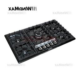 "WindMax® 34"" Black Titanium Stainless Steel 5 Burner Built-"