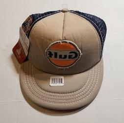 Gulf Gas Cap Hat Beige Blue Orange Mesh Retro Design Snapbac