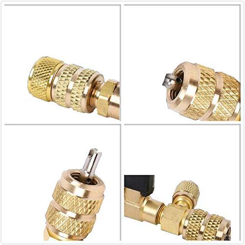 GooMeng R410A R22 Valve Core Remover with Dual Size SAE 1//4 /& 5//16 Port Hvac Valve Core Removal Installer Tool