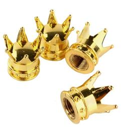Set of 4 Gold Crown Valve <font><b>Caps</b></font> Wheel All